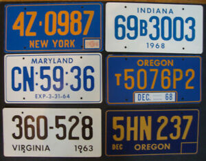 6 Movie Prop License Plates! 1 Price for the group!