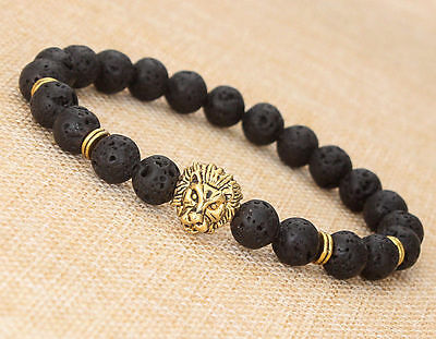 Cheap New Fashion Men's Black Lava Stone Gold Lion Beaded Charm Bracelet Jewelry (Cheap Bracelet)