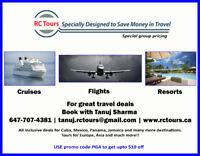 TRAVEL AGENCY - RC TOURS - GREAT SERVICE, PRICING AND DEALS
