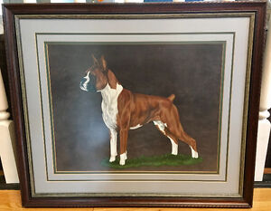 Beautiful Framed Original Oil Painting of a Boxer Dog.
