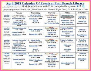 April Calendar - East Branch Public Library