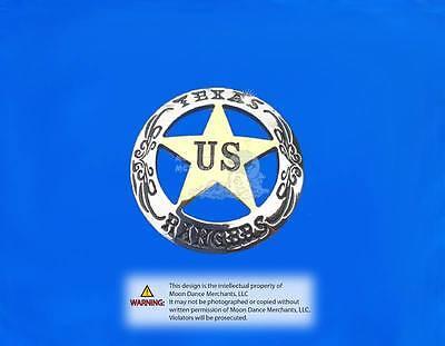 "Western Equestrian Tack Texas Rangers Ranger Silver/Gold Star Concho 1-1/2"""