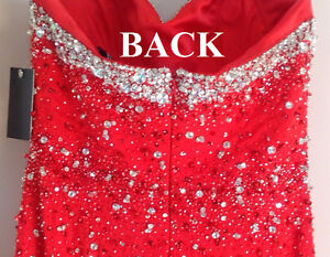 **BRAND NEW* Elaborate Floor Length Beaded Bodice Red Gown Dress Kitchener / Waterloo Kitchener Area image 4