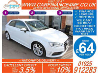 2014 AUDI A3 2.0 TDI S-LINE GOOD / BAD CREDIT CAR FINANCE FROM 64 P/WK