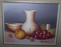 GORGEOUS OIL PAINTING of VASE,GRAPES,APPLE & CANDLE SIGNED