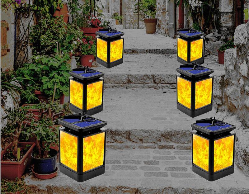 12LED Flickering Solar Torch Lamp Dancing Flame Lights Garden Waterproof Outdoor
