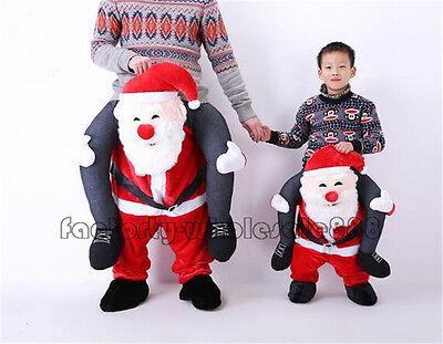 Carry Me Santa Claus Mascot Costume Piggy Back Ride On Adult Kid Halloween Dress - Santa Mascot Costume