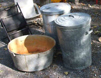 Garbage cans and washtub