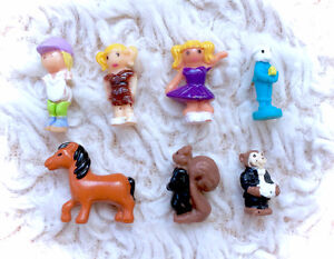 Vintage Polly Pocket Doll Figure Lot of 7 Animals Girl Squirrel