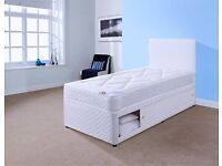 LEATHER 3FT SINGLE DIVAN BEDSET !!!! INC DIVAN BASE, MATTRESS, HEADBOARD (FAST & FREE DELIVERY)
