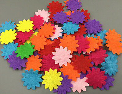DIY 200X Felt Flowers Mixed Colors Appliques Cardmaking decoration 33mm - Felt Flowers Diy
