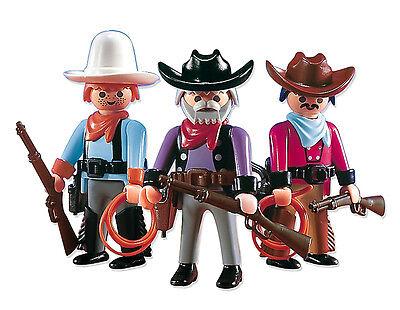"PLAYMOBIL® Western 7273 ""3 x Cowboys"" Farm Ranch Banditen Rarität NEU/OVP!"