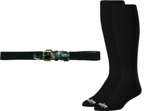 "Rawlings Adult Black Baseball 32-46"" Belt & Sock Large 8-12 Combo Pack Size"