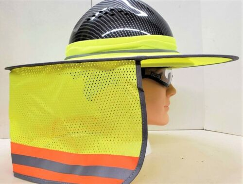 Yellow Hard Hat Sun Shade Visor Full Brim Mesh Neck HI VIS REFLECTIVE STRIPE