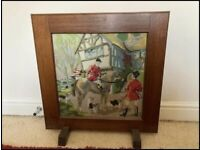 Fire screen with embroidered panel one side as seen in pictures