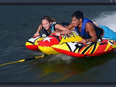 NEW Xtreme Dash 2 Person Rider Deck Tube Boat Towable Inflatable WOW SEE VIDEO