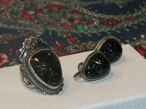 """Set of Vintage Sterling Silver Carved Onyx Ring  """"Primitive"""" Face, and Earrings"""