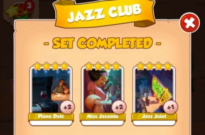 Coin Master Cards Jazz Club white cards (3 cards)