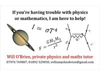 Physics and mathematics tuition up to A-level standard
