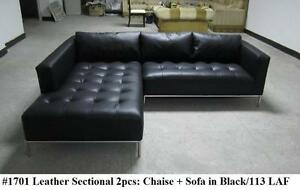 Image Is Loading 2PC Modern Contemporary Black Leather Sectional Sofa 1701