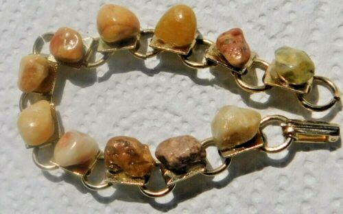 "Bracelet 7"" L Gold Tone Link W/ Small Stones Set On Each Link"
