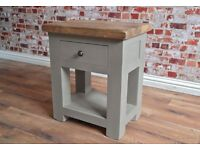Rustic Hardwood Lamp Telephone Side Table with Drawer in Matt French Grey Finish