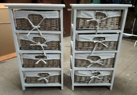 Attractive storage drawer units, wicker baskets with cotton covers, Country style units