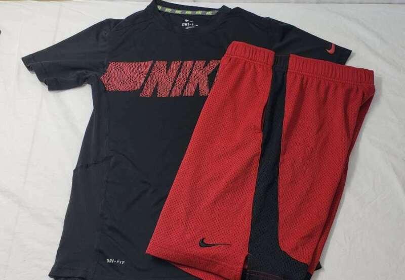 Nike Set Boys Size Large L DriFit Swoosh Shirt Shorts Black Red
