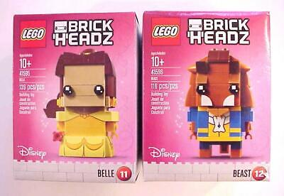 2 x BrickHeadz Lego BEAUTY and the BEAST & BELLE 41595 41596 Disney Sealed MIMB