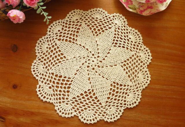 Vintage Style Hand Floral Crochet Cotton Round Beige Doily 29CM