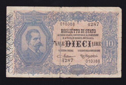 ITALY ------- 10  LIRE  1888 ----- VG ------