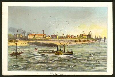 Norderney, Ansicht vom Meer, Original-Chromolithographie von ca. 1890