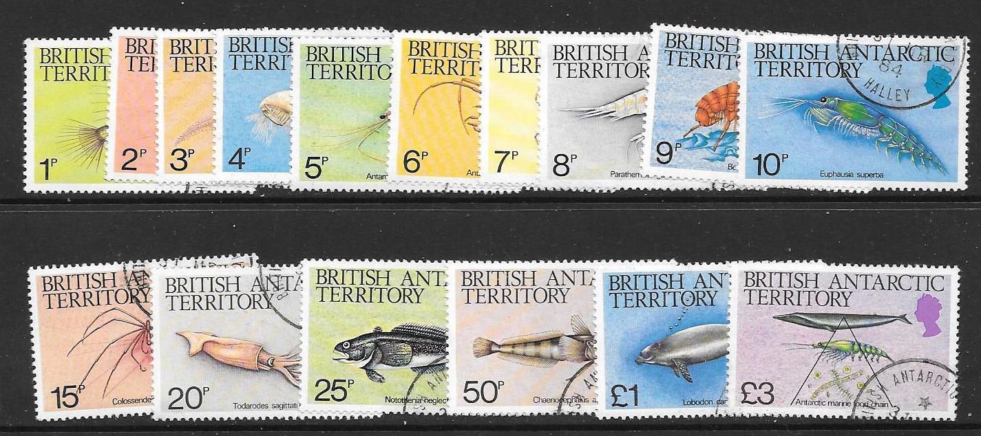 BRITISH ANTARCTIC TERR. SG123/38 1984 MARINE LIFE FINE USED