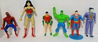 DC / Marvel Action Figures Lot of 6 Superman Joker Robin Hulk Wonder Woman  for sale  Shipping to India