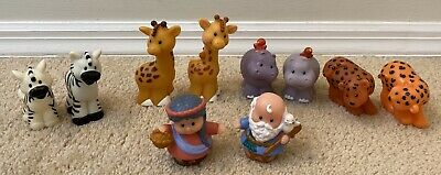 Fisher Price Little People Noah's Ark Animal Pairs Noah Wife Figures Lot Hippos