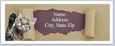 Personalized Address Labels Cute Cat ripped paper Buy 3 get