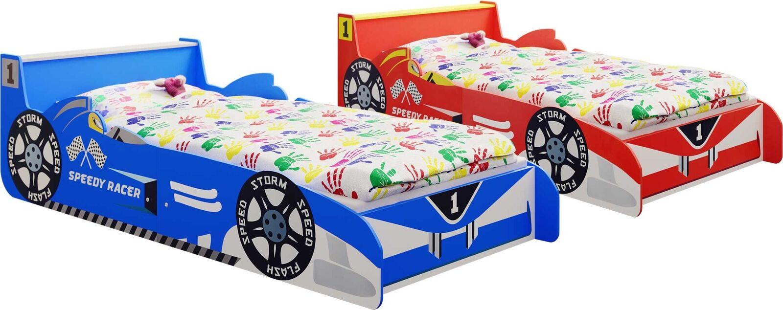 Kinderbett Autobett Speedy Racer Junior 140 x 70 cm blau/rot Rennwagen