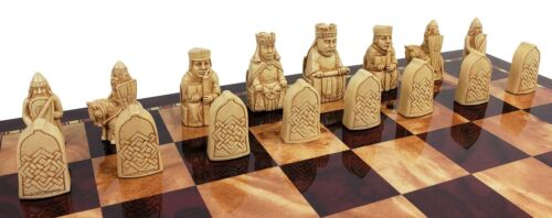 Buy Best Red & Ivory Finish Mini Isle of Lewis Chess Men Set 2 3/8 inch King - NO BOARD.