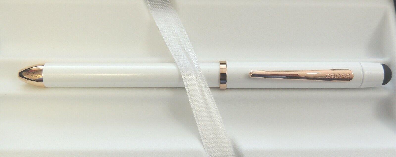 Cross Tech3+ Multi-Function Pen, Pearl White w/ Gold Trim, New in Box Ballpoint Pens