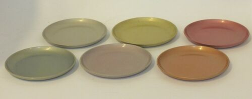 VINTAGE DRINK COASTERS IN MULTI-COLORED PASTEL PEARLIZED ALUMINUM SET OF 6