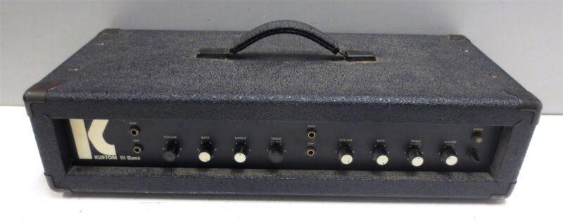 Kustom III Electric Bass Guitar Amplifier Head Unit - Made in USA