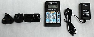 Ansmann Powerline (ANSMANN Powerline 4 Light Battery Charger + 4x 2500mAh Rechargeable AA)