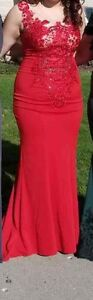 Red laced dress
