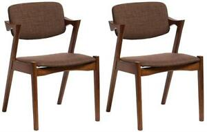 NEW Baxton Studio 2-Piece Elegant Mid-Century Modern Scandinavian Style Fabric Upholstered Dining Armchair Set, Dark ...