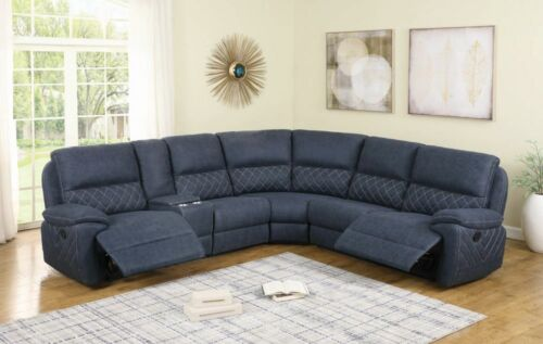 BLUE PERFORMANCE MICROFIBER RECLINING SECTIONAL W/ CONSOLE LIVING ROOM FURNITURE