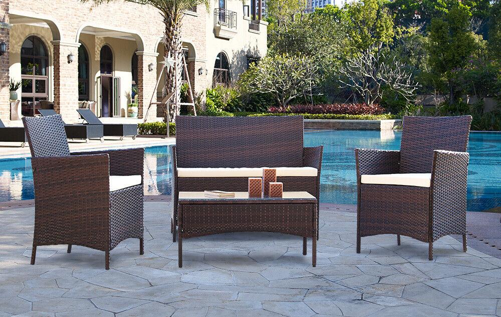 Garden Furniture - Rattan Garden Furniture Dining Set Patio Outdoor 4 Piece Table Chairs Sofa