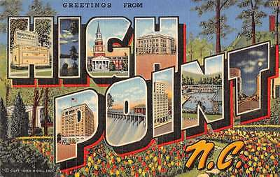High Point North Carolina Greetings From Large Letter Linen Antique Pc Y15111