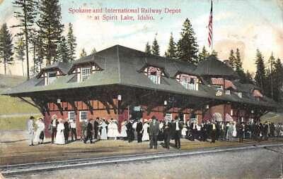 Spirit Lake Idaho Train Station Vintage Postcard AA25650