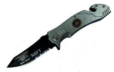 US NAVY SEAL TEAM Spring ASSISTED Opening POCKET KNIFE Belt Cutter Glass Breaker