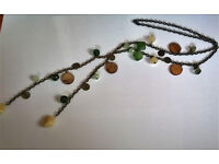 mixed glass and shell necklace